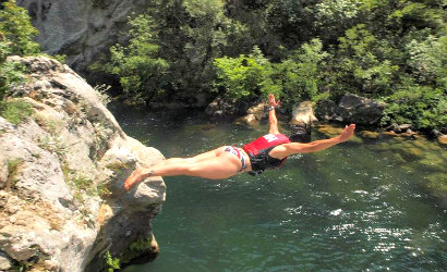 Rafting on Cetina river with jumping